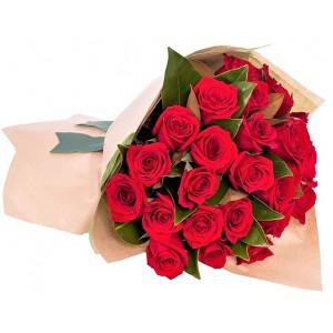 Valentine's Dozen Red Roses Bouquet