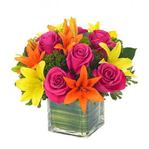 Mix Roses and Lilies Flower Arrangements